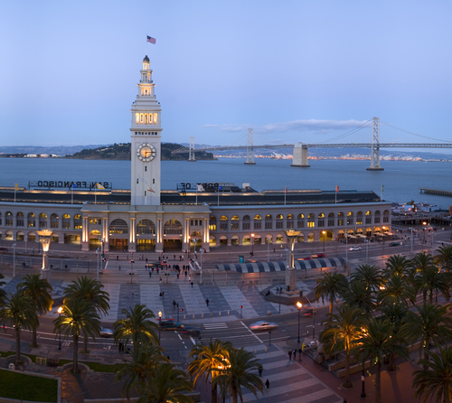 of San Francisco. The Embarcadero is the boulevard that runs all along the waterfront of San Francisco, from the Bay Bridge, past the Ferry Building, and down to Pier 39 and Fisherman's Wharf. The Embarcadero, near the Ferry Building.